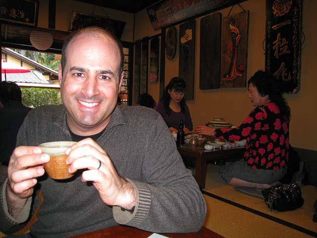 Ken with tea, at Jyun-sei